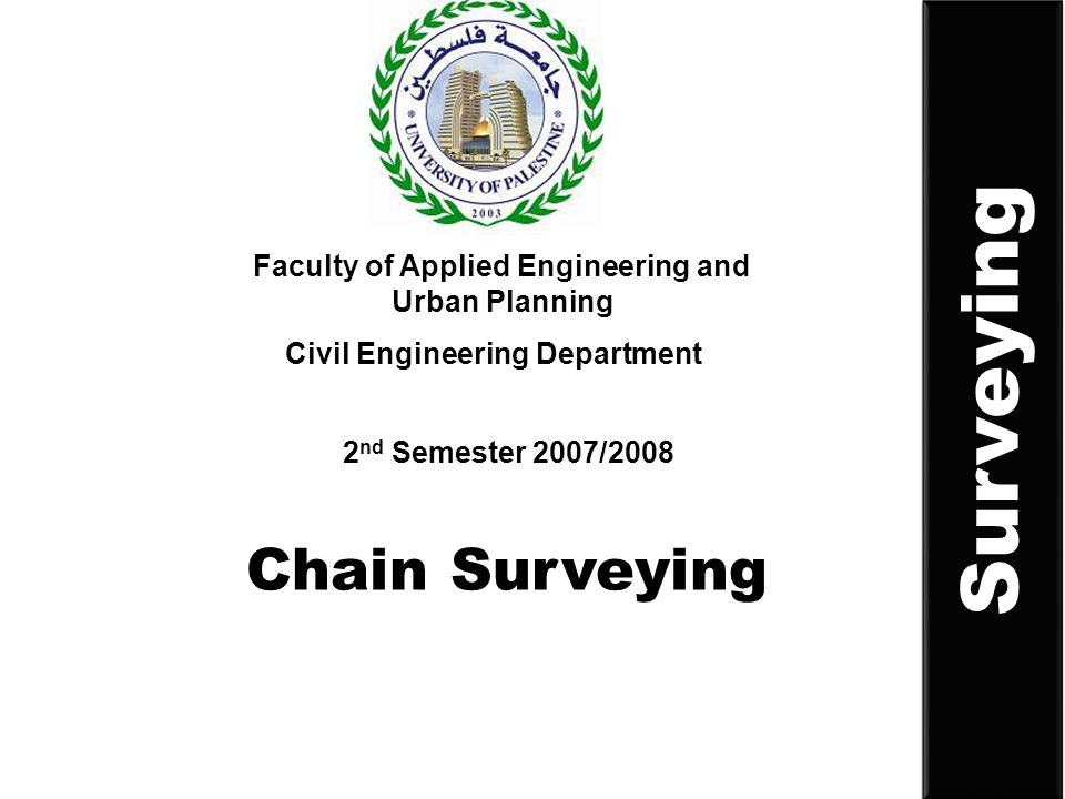 Chain Surveying Faculty of Applied Engineering and Urban Planning Civil Engineering Department 2 nd Semester 2007/2008 Surveying
