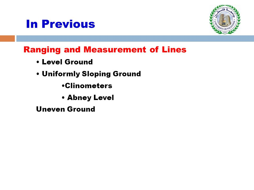 In Previous Ranging and Measurement of Lines Level Ground Uniformly Sloping Ground Clinometers Abney Level Uneven Ground