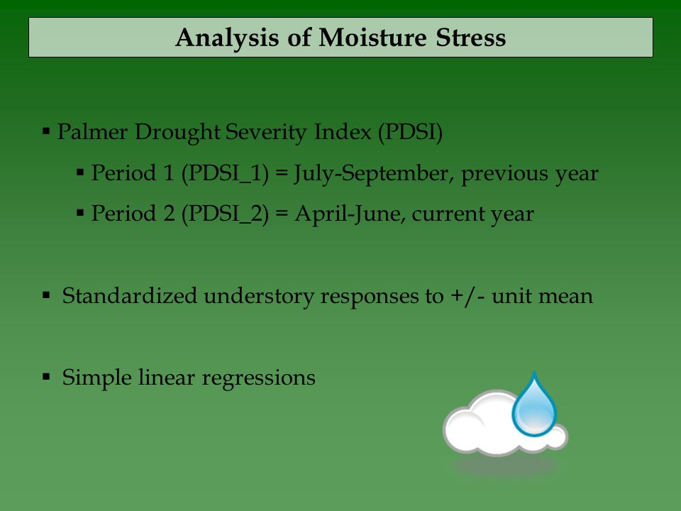  Palmer Drought Severity Index (PDSI)  Period 1 (PDSI_1) = July-September, previous year  Period 2 (PDSI_2) = April-June, current year  Standardized understory responses to +/- unit mean  Simple linear regressions Analysis of Moisture Stress