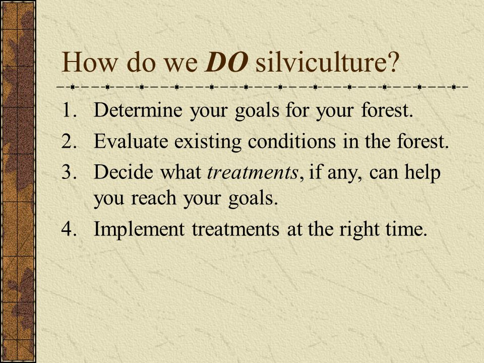 How do we DO silviculture? 1.Determine your goals for your forest. 2.Evaluate existing conditions in the forest. 3.Decide what treatments, if any, can