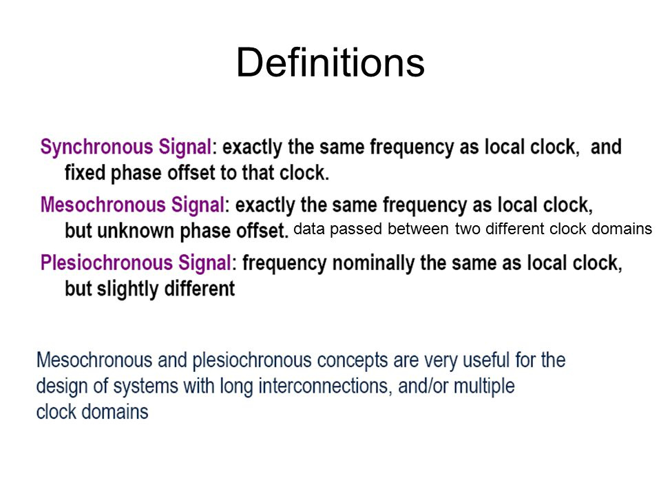 Definitions data passed between two different clock domains