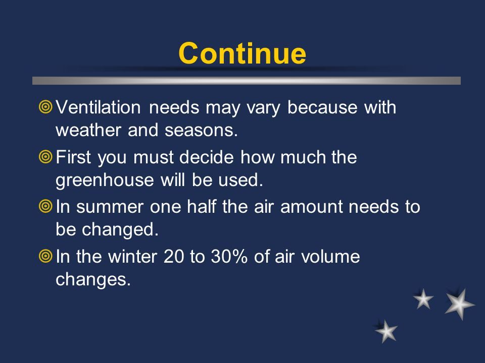 Continue  Ventilation needs may vary because with weather and seasons.  First you must decide how much the greenhouse will be used.  In summer one