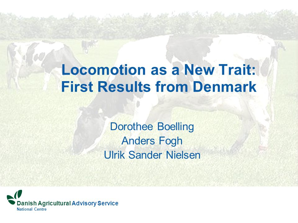 Danish Agricultural Advisory Service National Centre Locomotion as a New Trait: First Results from Denmark Dorothee Boelling Anders Fogh Ulrik Sander Nielsen