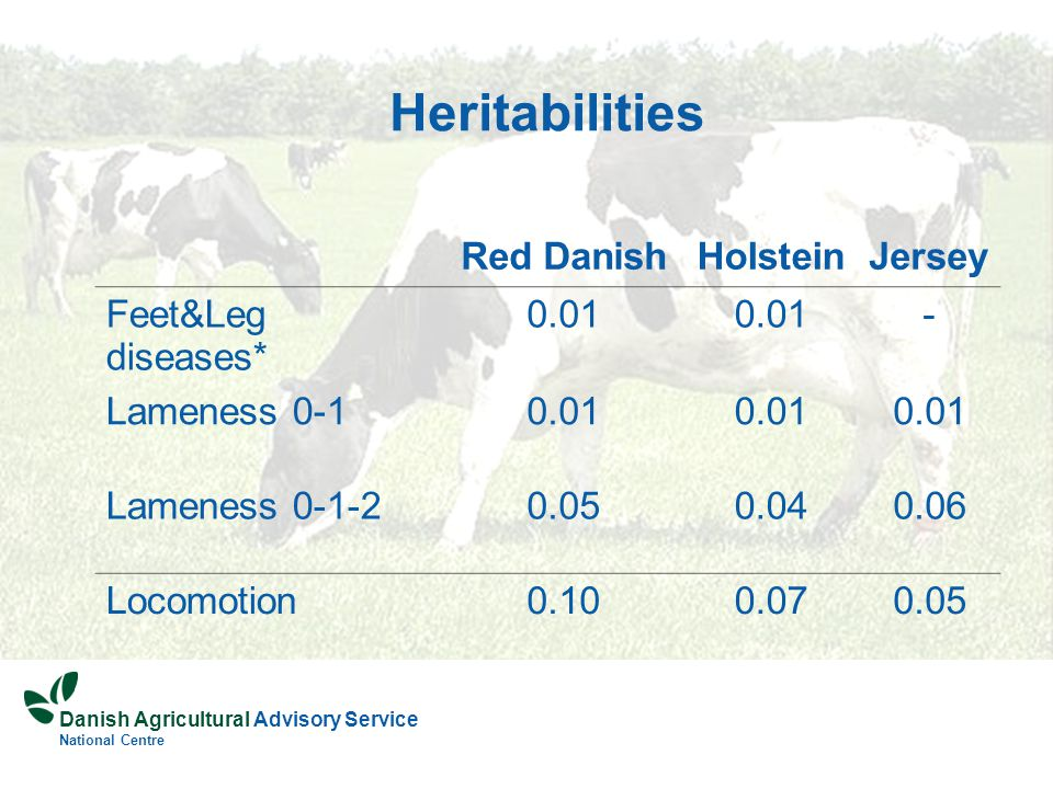 Danish Agricultural Advisory Service National Centre Heritabilities Red DanishHolsteinJersey Feet&Leg diseases* 0.01 - Lameness 0-10.01 Lameness 0-1-20.050.040.06 Locomotion0.100.070.05
