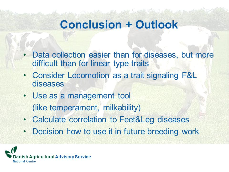 Danish Agricultural Advisory Service National Centre Conclusion + Outlook Data collection easier than for diseases, but more difficult than for linear type traits Consider Locomotion as a trait signaling F&L diseases Use as a management tool (like temperament, milkability) Calculate correlation to Feet&Leg diseases Decision how to use it in future breeding work