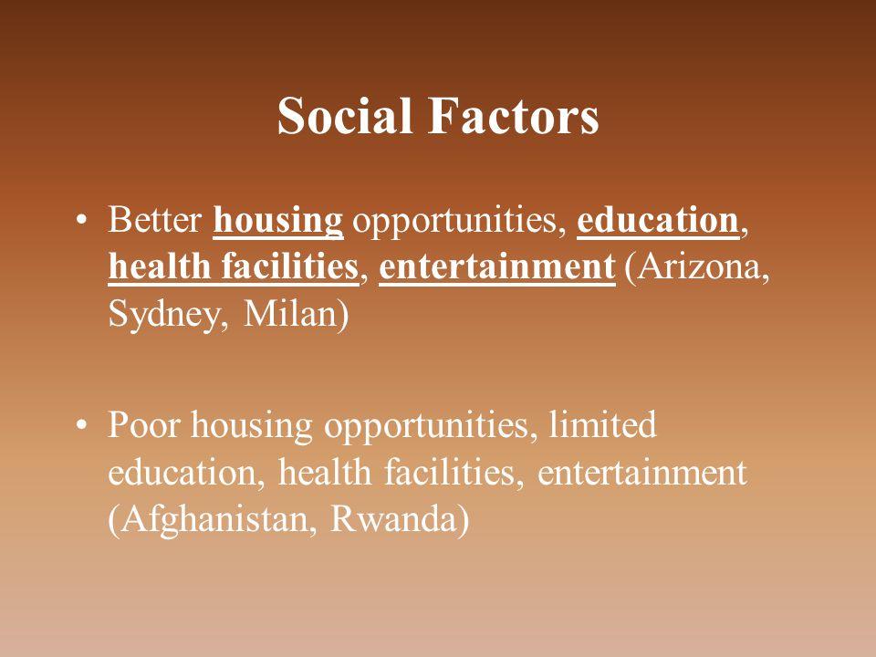 Social Factors Better housing opportunities, education, health facilities, entertainment (Arizona, Sydney, Milan) Poor housing opportunities, limited