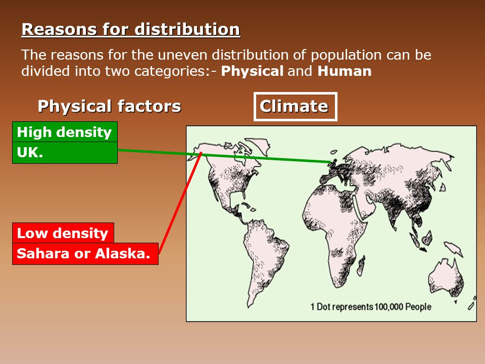 Reasons for distribution The reasons for the uneven distribution of population can be divided into two categories:- Physical and Human Physical factor