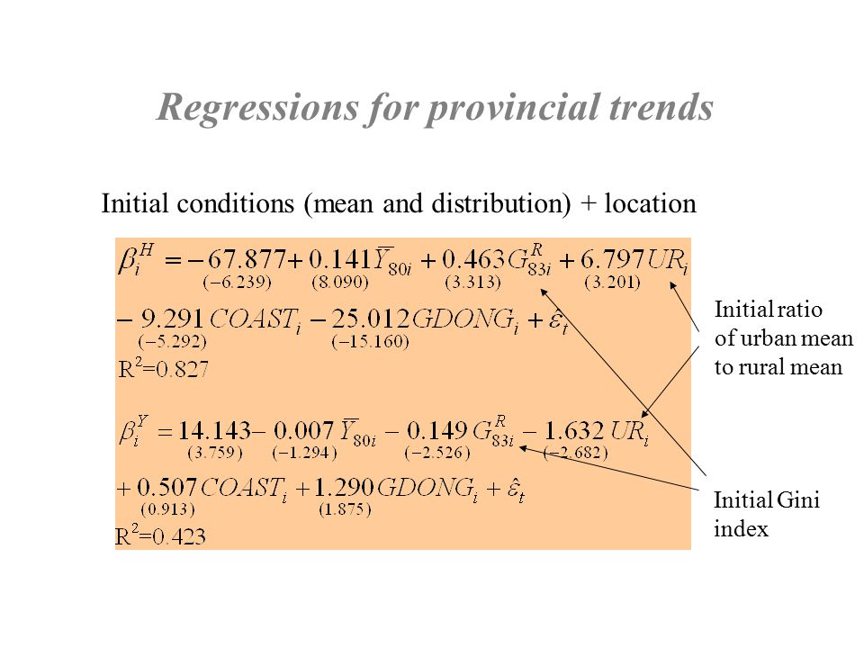 Regressions for provincial trends Initial conditions (mean and distribution) + location Initial ratio of urban mean to rural mean Initial Gini index