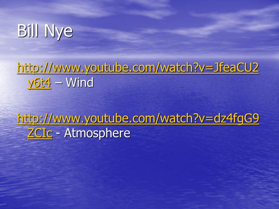 Bill Nye http://www.youtube.com/watch?v=JfeaCU2 y6t4http://www.youtube.com/watch?v=JfeaCU2 y6t4 – Wind http://www.youtube.com/watch?v=JfeaCU2 y6t4 htt