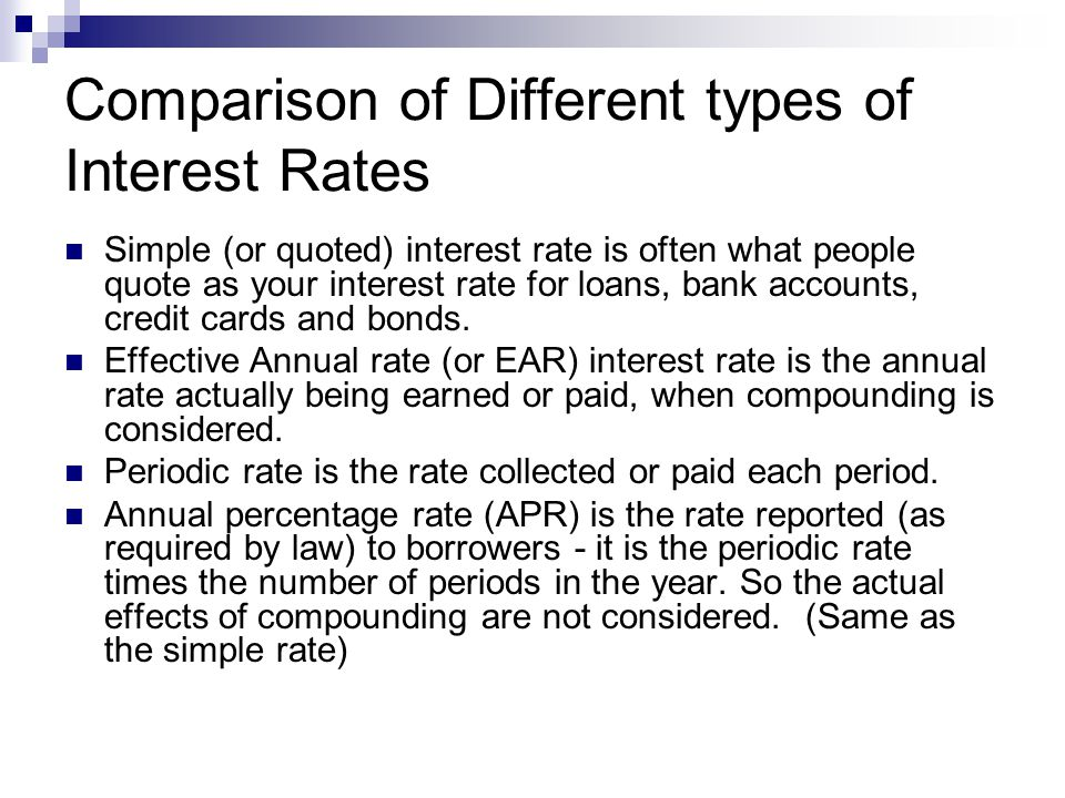 Comparison of Different types of Interest Rates Simple (or quoted) interest rate is often what people quote as your interest rate for loans, bank accounts, credit cards and bonds.