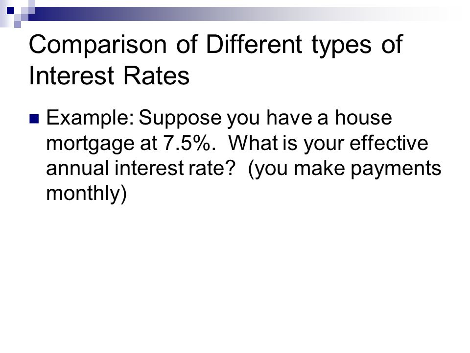 Comparison of Different types of Interest Rates Example: Suppose you have a house mortgage at 7.5%.