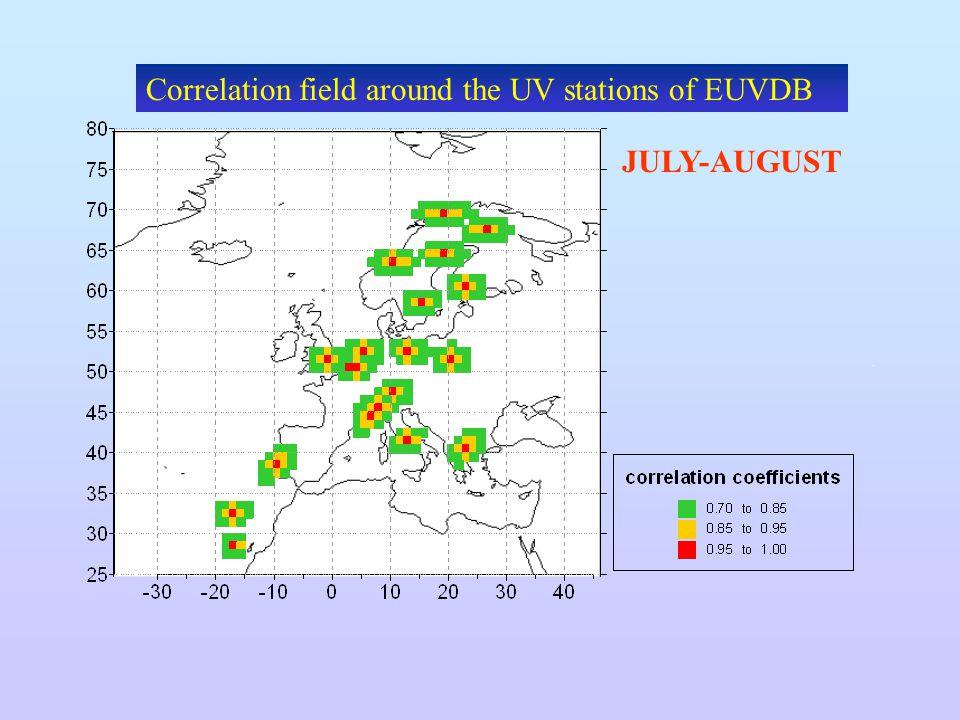 Correlation field around the UV stations of EUVDB JULY-AUGUST