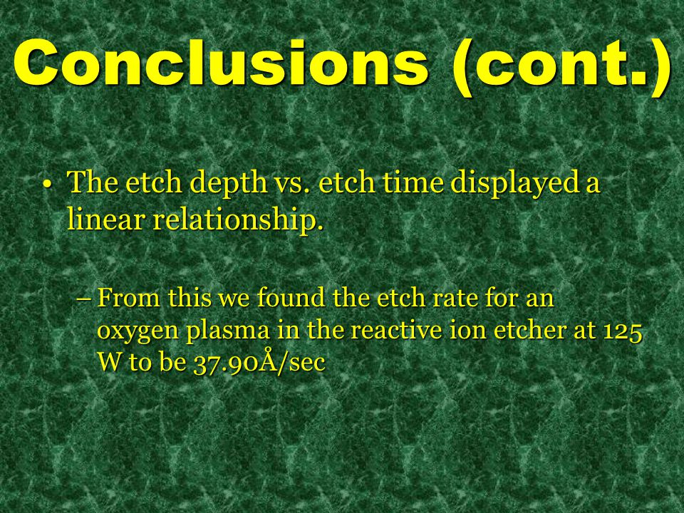 Conclusions (cont.) The etch depth vs. etch time displayed a linear relationship.The etch depth vs.