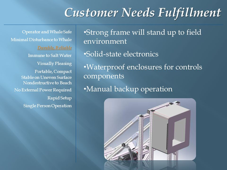 Strong frame will stand up to field environment Solid-state electronics Waterproof enclosures for controls components Manual backup operation Customer Needs Fulfillment Operator and Whale Safe Minimal Disturbance to Whale Durable, Reliable Immune to Salt Water Visually Pleasing Portable, Compact Stable on Uneven Surface Nondestructive to Beach No External Power Required Rapid Setup Single Person Operation