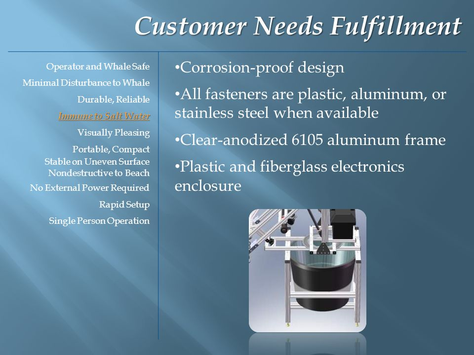 Corrosion-proof design All fasteners are plastic, aluminum, or stainless steel when available Clear-anodized 6105 aluminum frame Plastic and fiberglass electronics enclosure Customer Needs Fulfillment Operator and Whale Safe Minimal Disturbance to Whale Durable, Reliable Immune to Salt Water Visually Pleasing Portable, Compact Stable on Uneven Surface Nondestructive to Beach No External Power Required Rapid Setup Single Person Operation