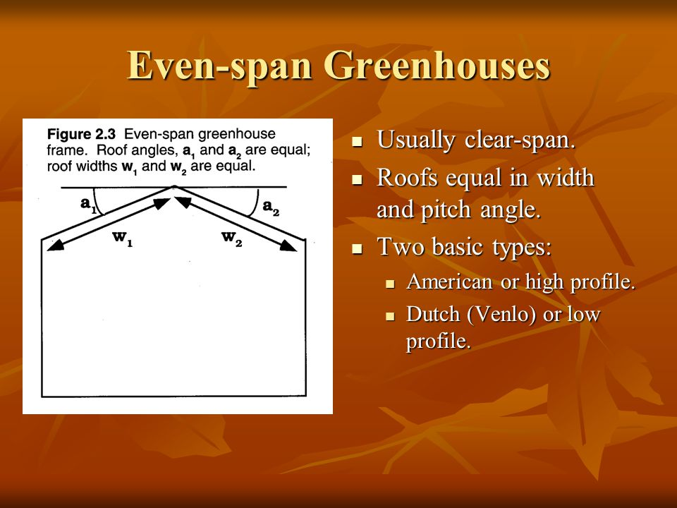 Even-span Greenhouses Usually clear-span. Usually clear-span. Roofs equal in width and pitch angle. Roofs equal in width and pitch angle. Two basic ty