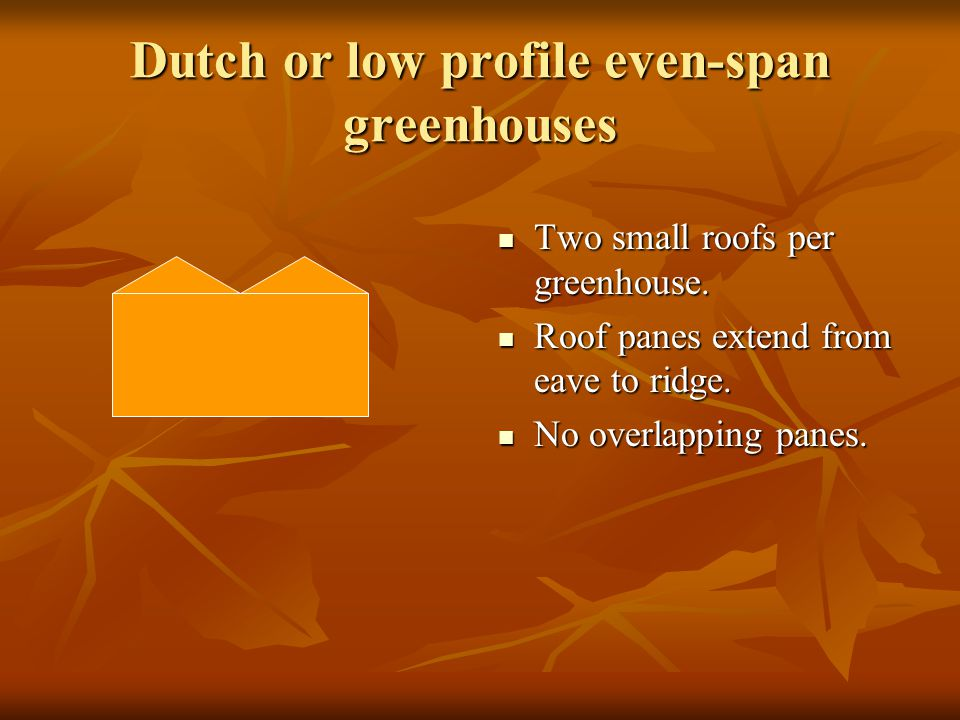 Dutch or low profile even-span greenhouses Two small roofs per greenhouse. Two small roofs per greenhouse. Roof panes extend from eave to ridge. Roof