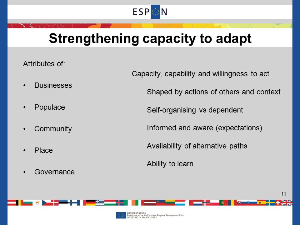 Attributes of: Businesses Populace Community Place Governance Strengthening capacity to adapt 11 Capacity, capability and willingness to act Shaped by actions of others and context Self-organising vs dependent Informed and aware (expectations) Availability of alternative paths Ability to learn