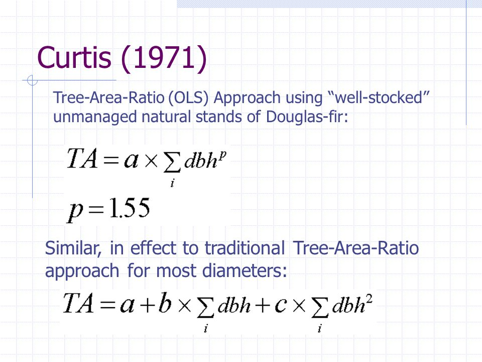 Curtis (1971) Similar, in effect to traditional Tree-Area-Ratio approach for most diameters: Tree-Area-Ratio (OLS) Approach using well-stocked unmanaged natural stands of Douglas-fir: