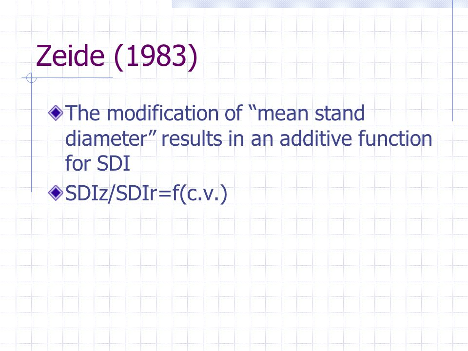 """Zeide (1983) The modification of """"mean stand diameter"""" results in an additive function for SDI SDIz/SDIr=f(c.v.)"""