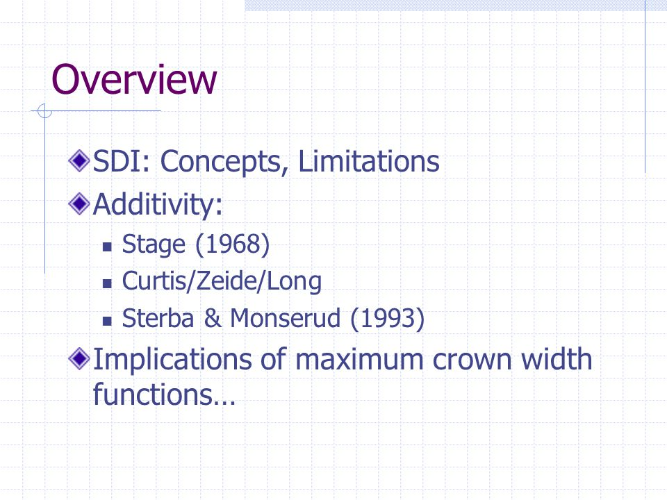 Overview SDI: Concepts, Limitations Additivity: Stage (1968) Curtis/Zeide/Long Sterba & Monserud (1993) Implications of maximum crown width functions…