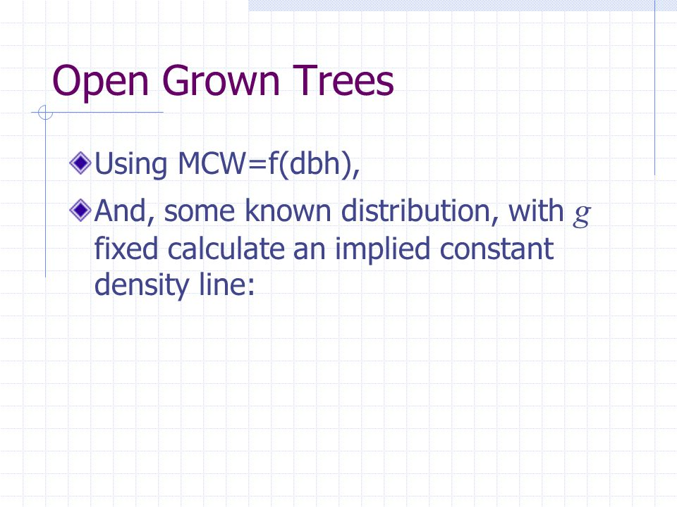 Open Grown Trees Using MCW=f(dbh), And, some known distribution, with g fixed calculate an implied constant density line:
