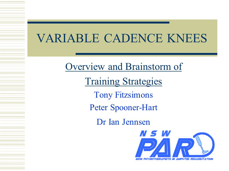 Content  Summary of general principles  Types of knees  Brainstorm Training Ideas