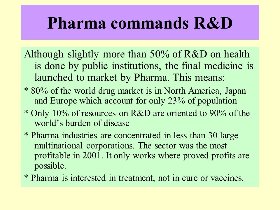 Pharma commands R&D Although slightly more than 50% of R&D on health is done by public institutions, the final medicine is launched to market by Pharm