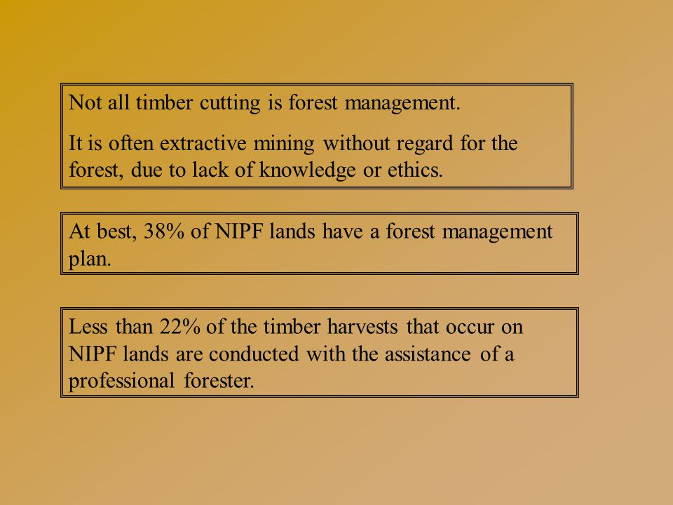 Management Planning: A Plan Cutting timber without a plan for the forest is not forest management.