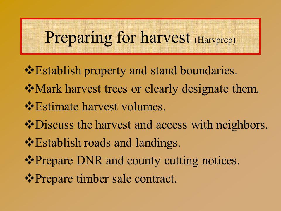 Preparing for harvest (Harvprep)  Establish property and stand boundaries.