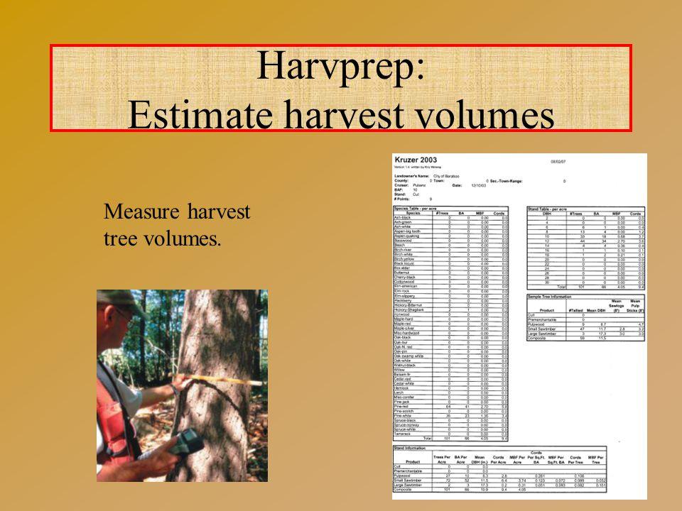 Harvprep: Estimate harvest volumes Measure harvest tree volumes.