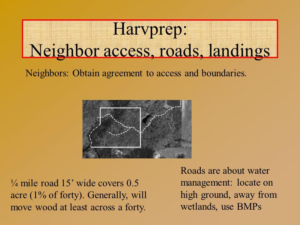 Harvprep: Neighbor access, roads, landings Neighbors: Obtain agreement to access and boundaries.