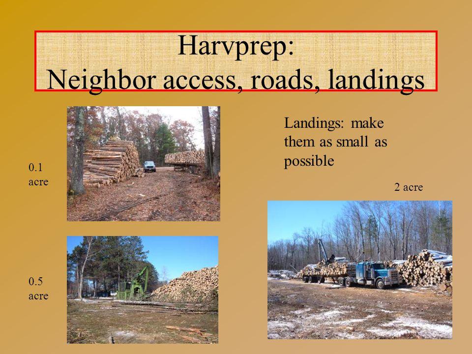 Harvprep: Neighbor access, roads, landings Landings: make them as small as possible 0.1 acre 2 acre 0.5 acre