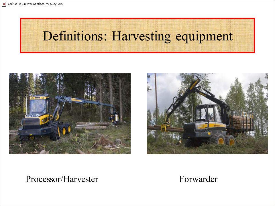 Definitions: Harvesting equipment Processor/HarvesterForwarder