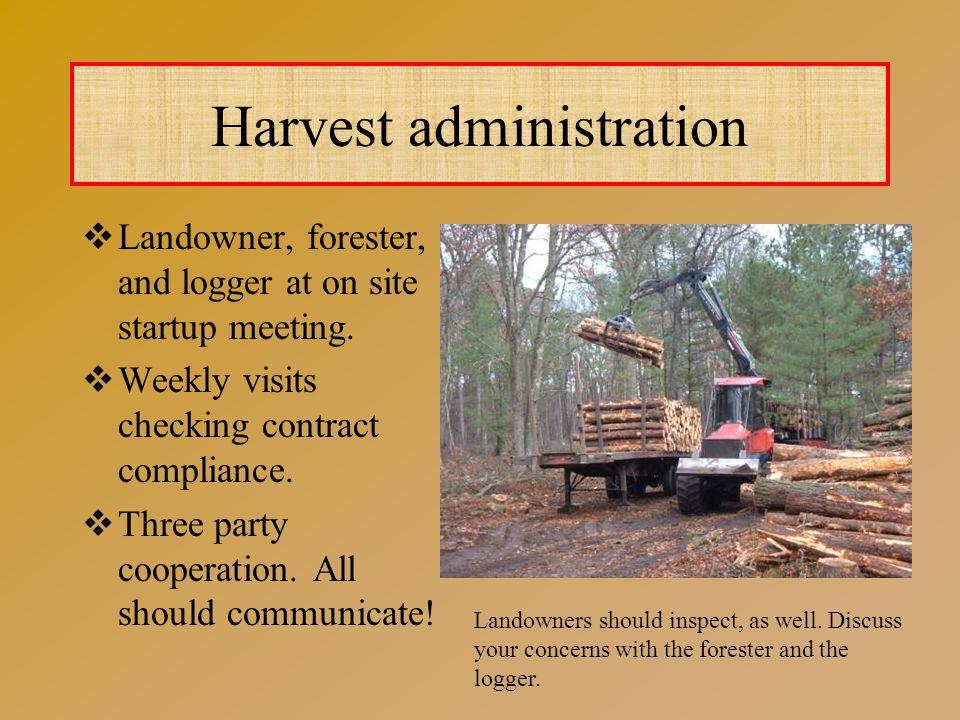 Harvest administration  Landowner, forester, and logger at on site startup meeting.