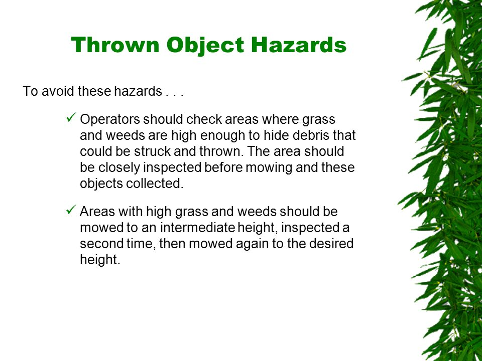Oklahoma State University Thrown Object Hazards To avoid these hazards...