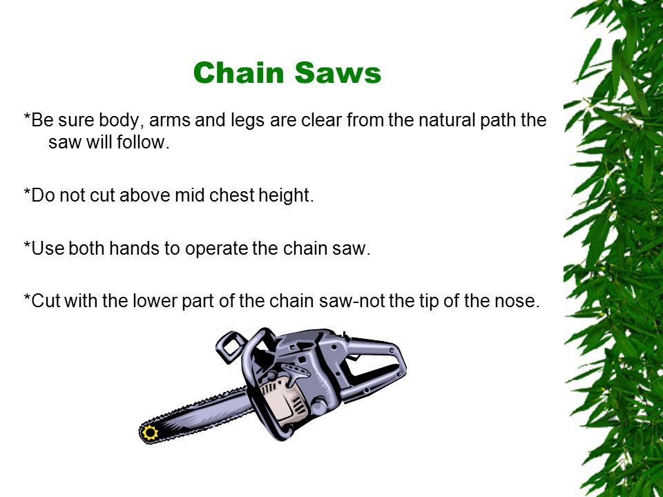 Oklahoma State University Chain Saws *Be sure body, arms and legs are clear from the natural path the saw will follow.
