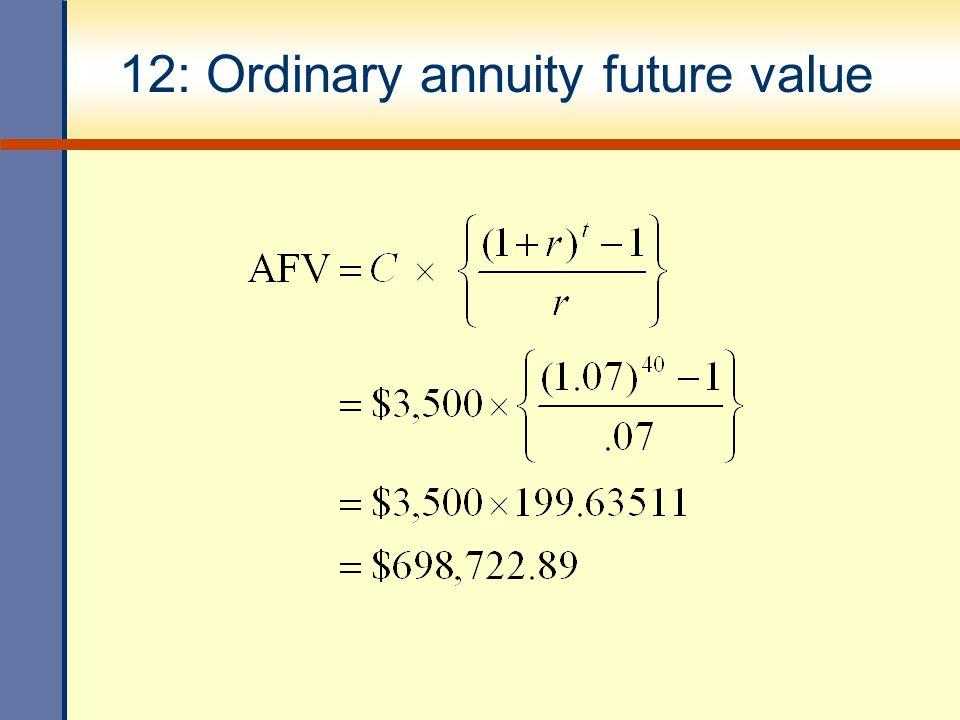 12: Ordinary annuity future value