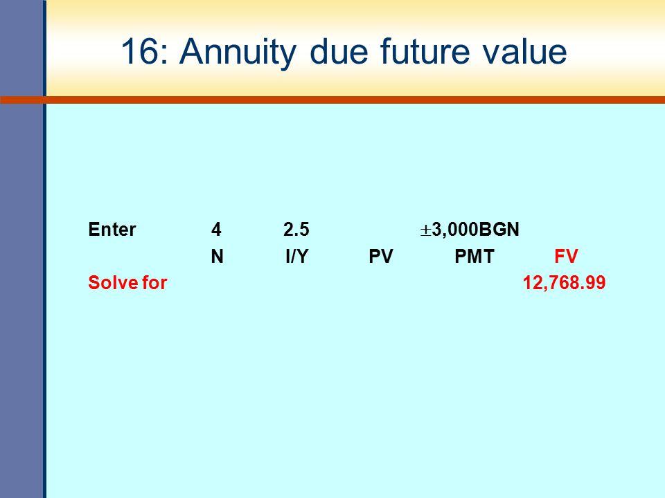 16: Annuity due future value Enter 4 2.5  3,000BGN N I/Y PV PMT FV Solve for 12,768.99