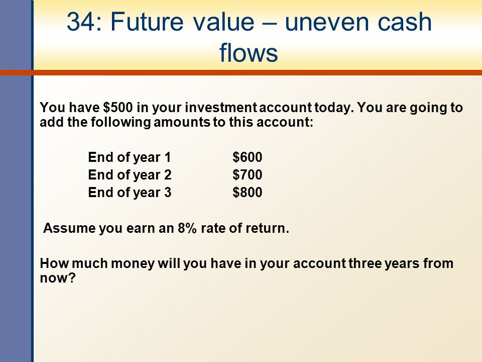 34: Future value – uneven cash flows You have $500 in your investment account today. You are going to add the following amounts to this account: End o