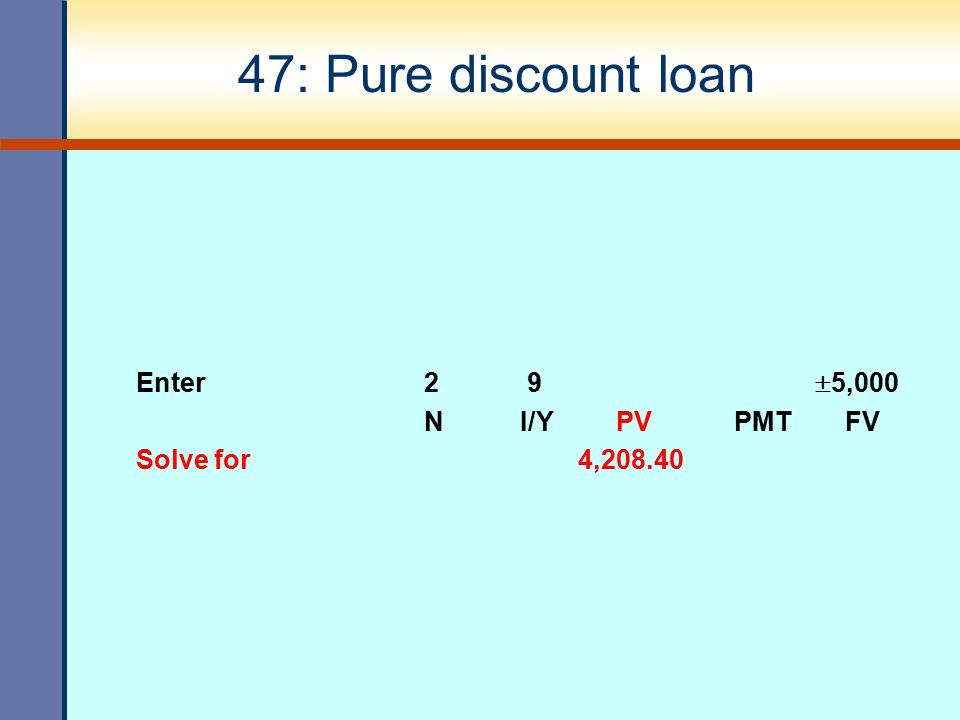 47: Pure discount loan Enter 2 9  5,000 NI/YPV PMT FV Solve for 4,208.40