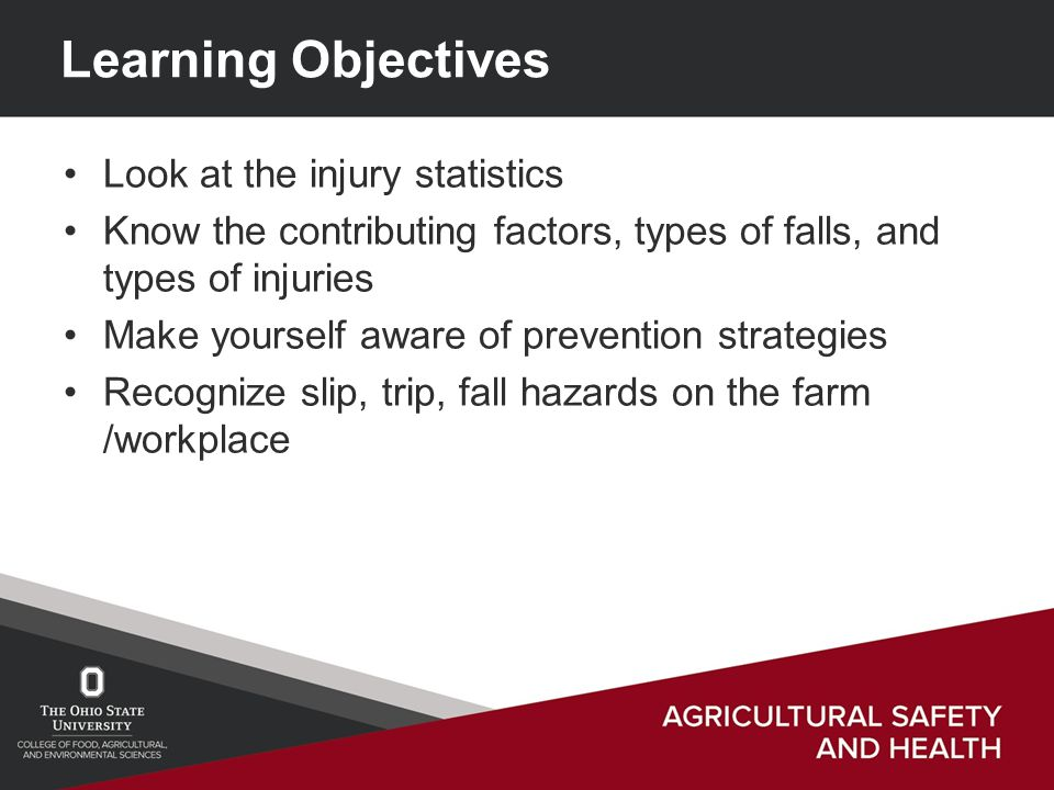 Learning Objectives Look at the injury statistics Know the contributing factors, types of falls, and types of injuries Make yourself aware of prevention strategies Recognize slip, trip, fall hazards on the farm /workplace