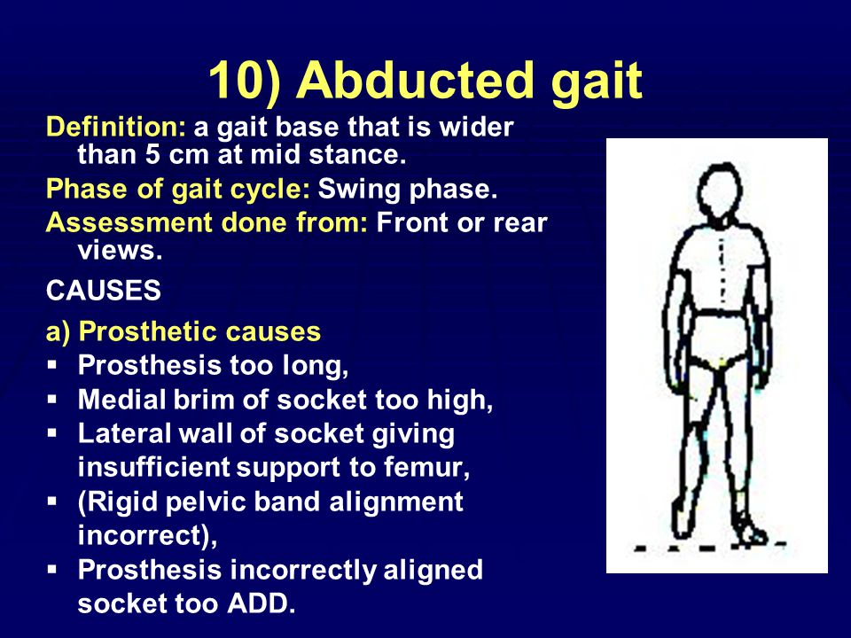 10) Abducted gait Definition: a gait base that is wider than 5 cm at mid stance.