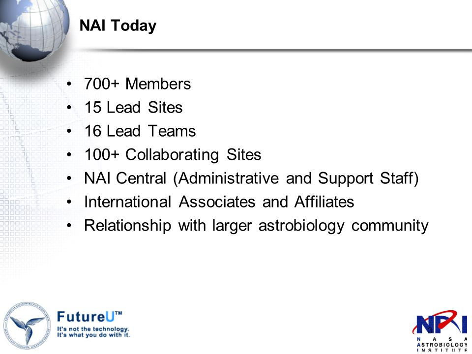 3 NAI Today 700+ Members 15 Lead Sites 16 Lead Teams 100+ Collaborating Sites NAI Central (Administrative and Support Staff) International Associates and Affiliates Relationship with larger astrobiology community