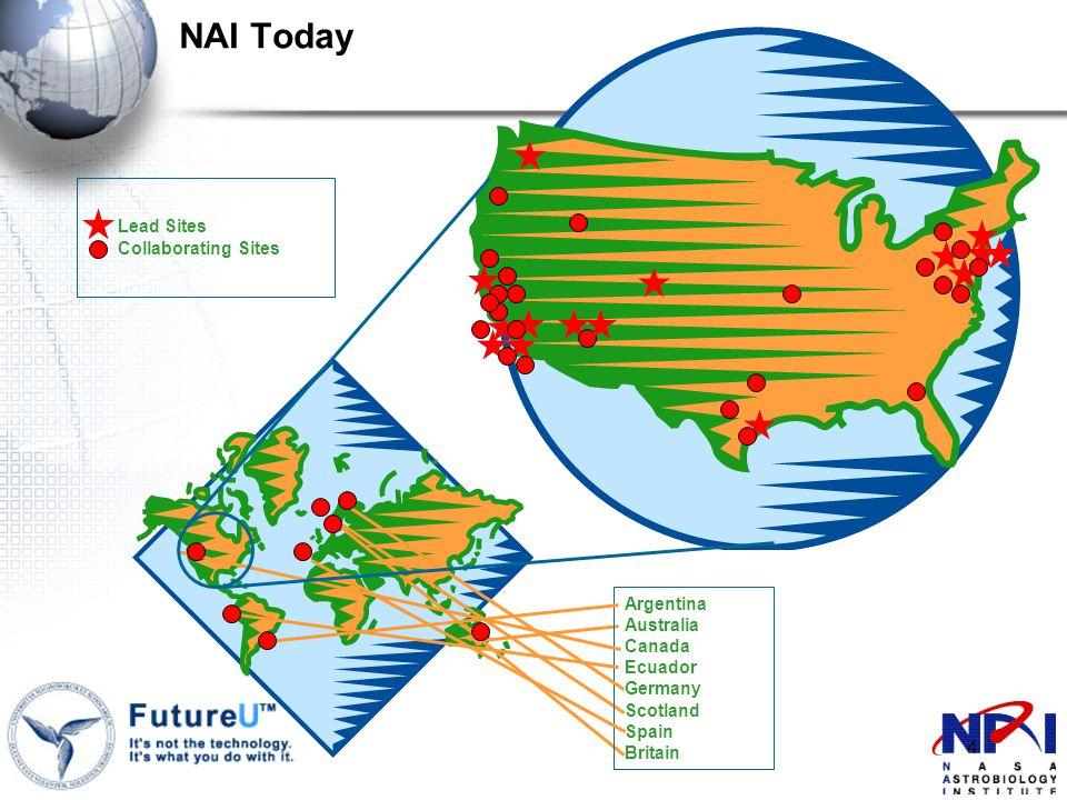 4 Argentina Australia Canada Ecuador Germany Scotland Spain Britain Lead Sites Collaborating Sites NAI Today