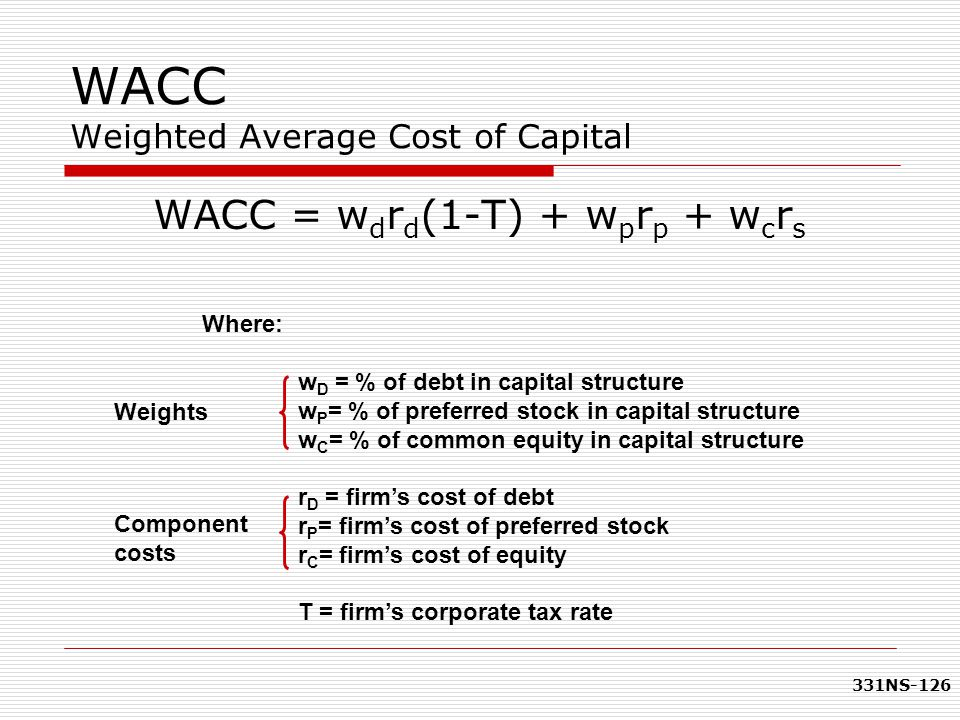 331NS-126 WACC Weighted Average Cost of Capital Where: w D = % of debt in capital structure w P = % of preferred stock in capital structure w C = % of