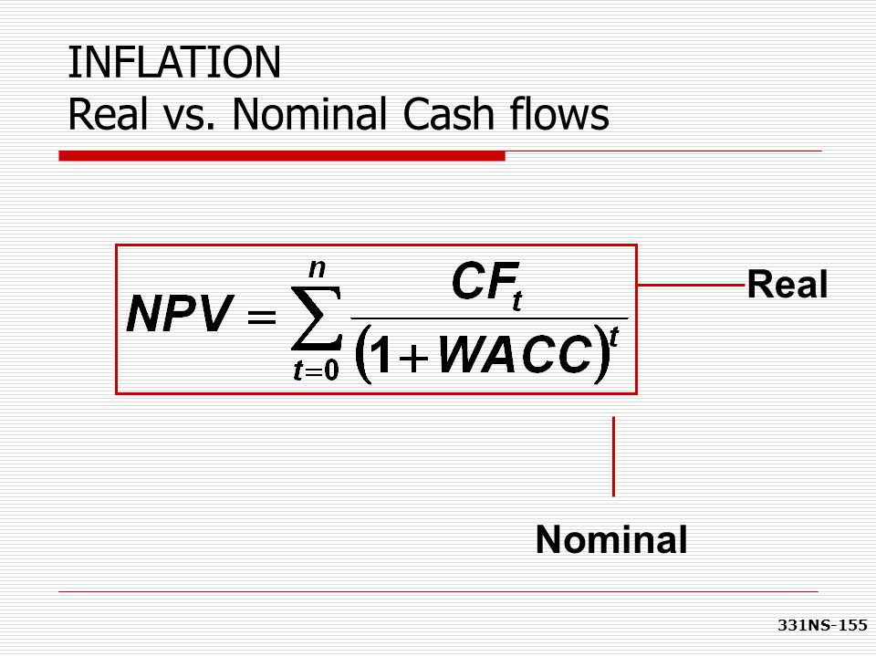 331NS-155 INFLATION Real vs. Nominal Cash flows Nominal Real