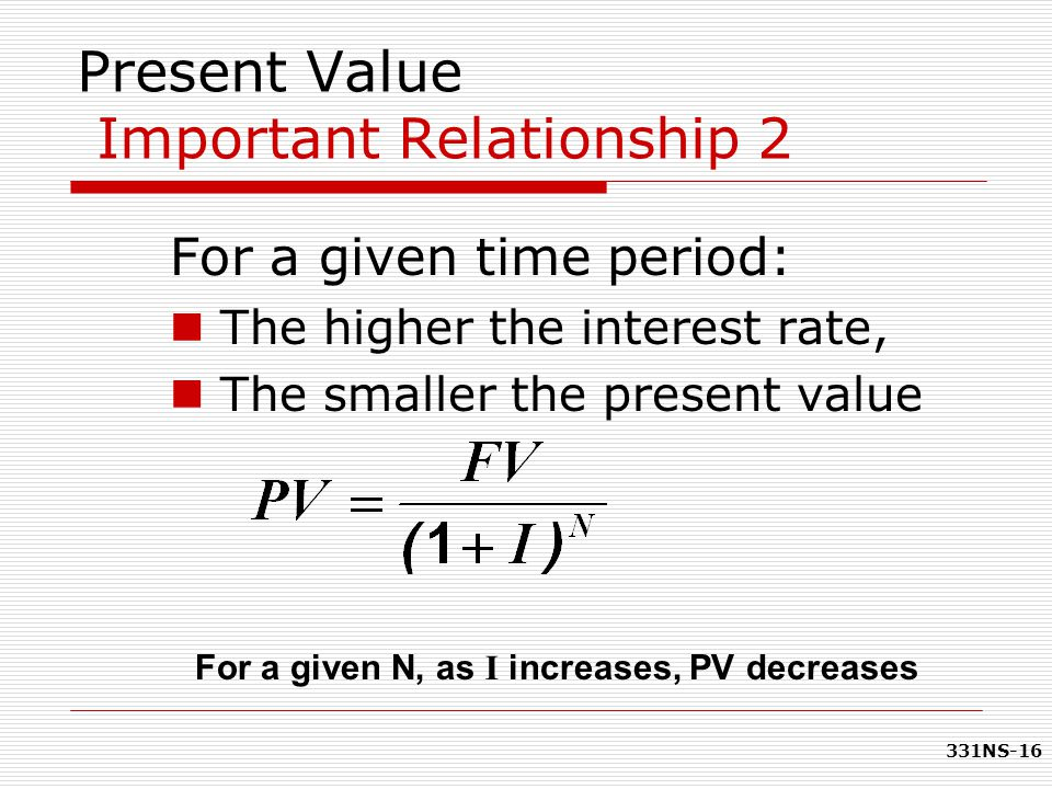 331NS-16 Present Value Important Relationship 2 For a given time period: The higher the interest rate, The smaller the present value For a given N, as