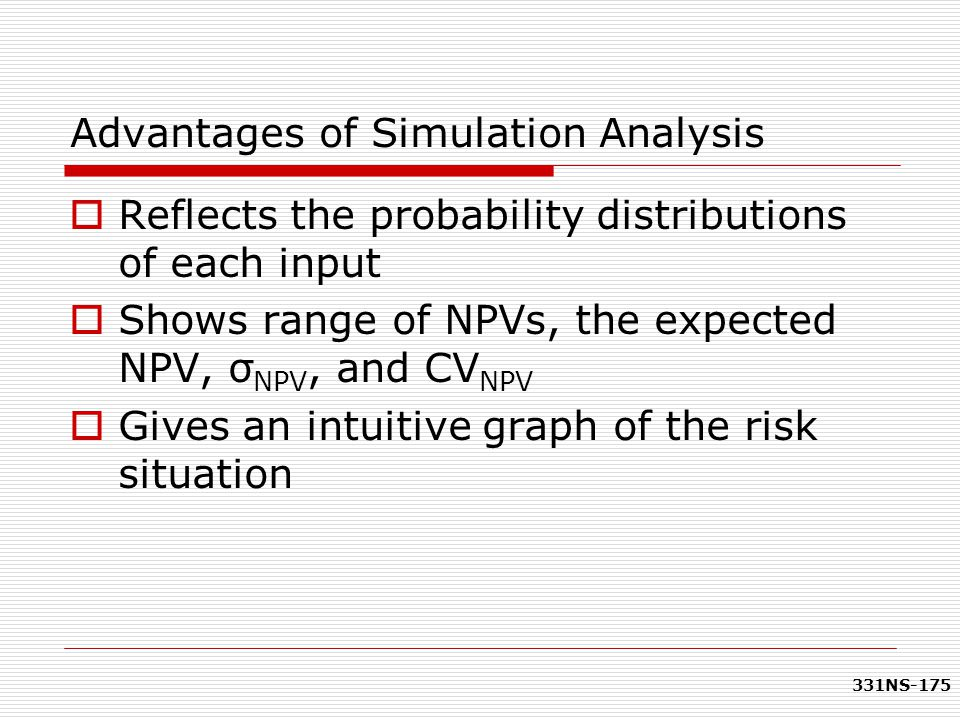 331NS-175 Advantages of Simulation Analysis  Reflects the probability distributions of each input  Shows range of NPVs, the expected NPV, σ NPV, and