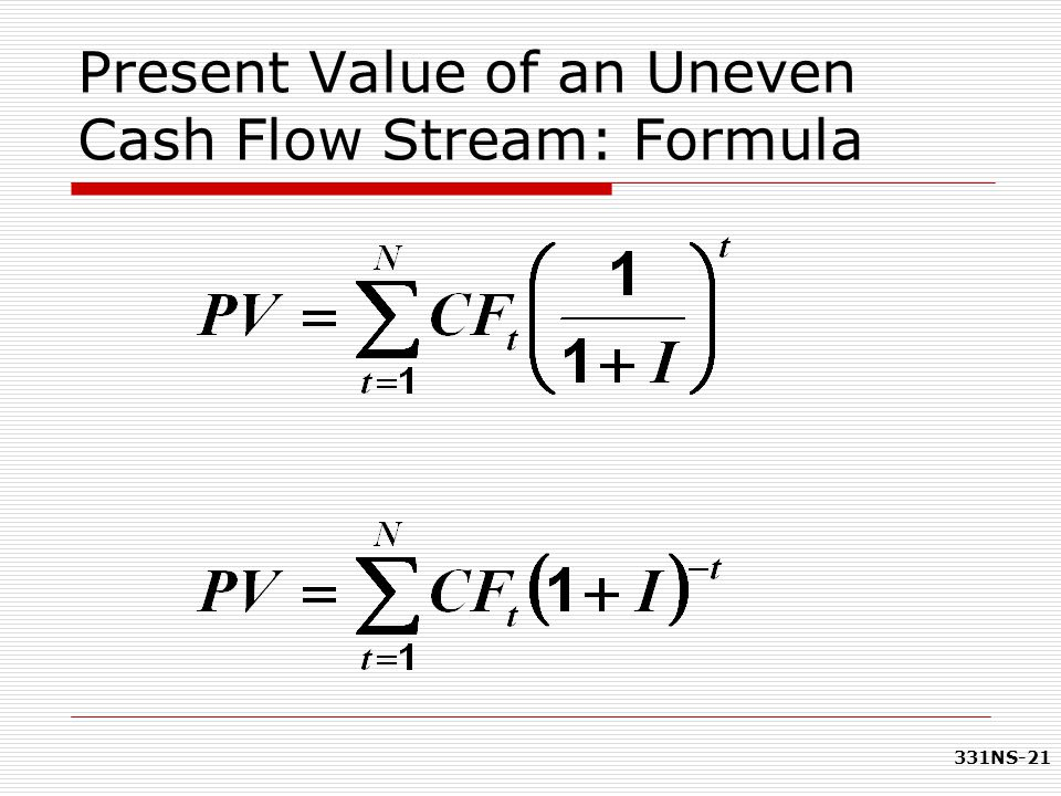 331NS-21 Present Value of an Uneven Cash Flow Stream: Formula